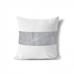 POSZEWKA DEKORACYJNA W CYRKONIE NA JAŚKA 40x40 cm DIAMENTOWA kolor biały