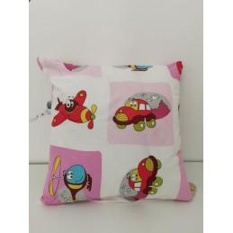 Poszewka na poduszkę samolot 100% bawełna 40x40 różowa